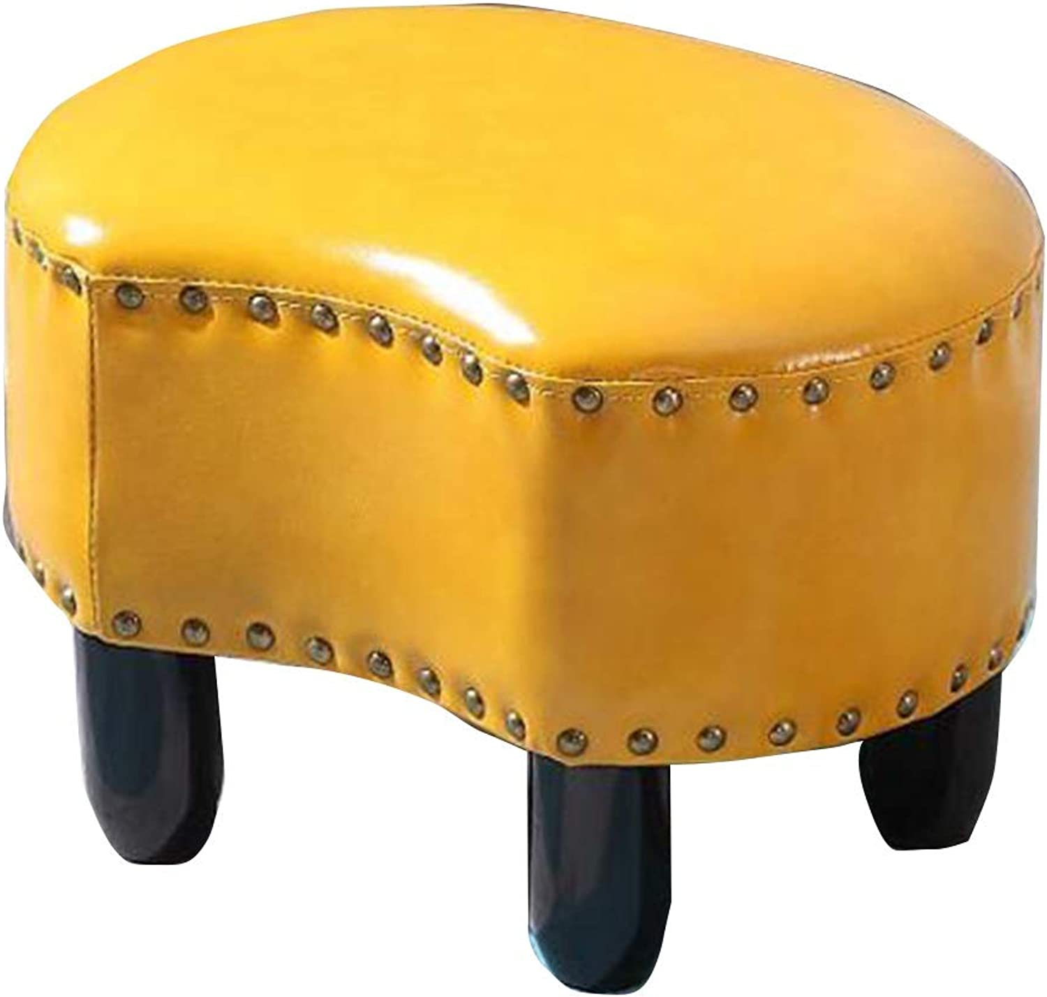 Pouffes and Footstools Home Change shoes Low Stool Solid Wood Feet Crescent Shape PU Retro , 7 colors ( color   Yellow , Size   42X31X28CM )