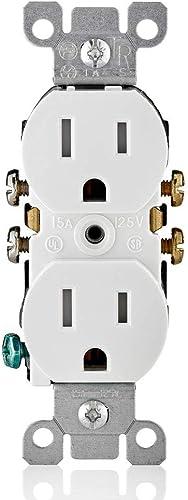 Leviton Receptáculo dúplex de 15 A, 125 V, a prueba de manipulaciones Blanco