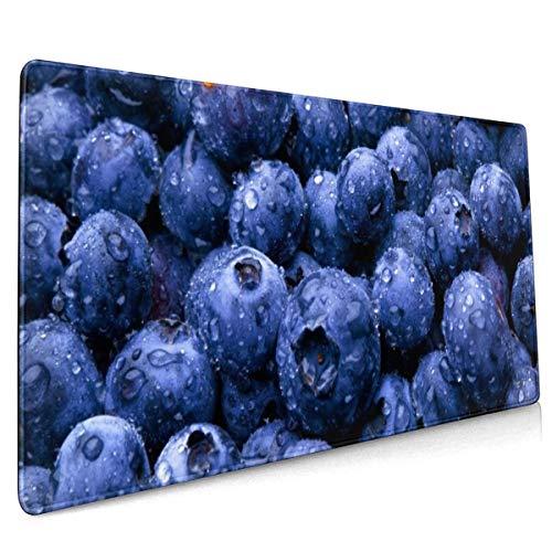 Natuur Fruit Voedsel Water Drops Bessen Bosbessen Mouse Pad Niet Slip Rubber Grote Gaming Keyboard Mat 15.8x35.5 In