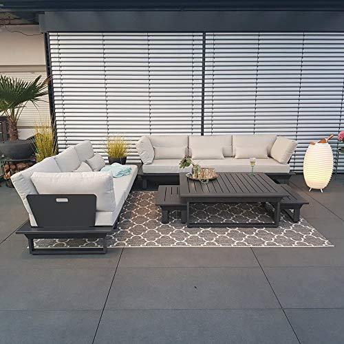 ICM Gartenlounge Set Menton Aluminium anthrazit Gartenmöbel Loungegruppe Alu Sitzgruppe Terrassenmöbel Outdoormöbel Lounge Balkon Garten Garnitur Eckgarnitur