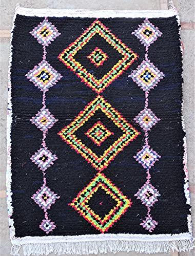 Marokkanischer Berberteppich, authentisch, Boucherouit, aus recyceltem Stoff und Baumwolle, 150 x 110 cm, recycelte Textilien aus der Tribu de Azilal TTN