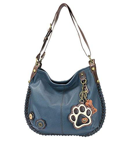 CHALA Crossbody Handbag, Hobo Style, Casual, Soft, Large Bag Shoulder Crossbody - Navy (Paw Print)