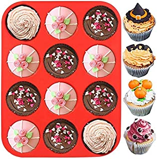 Vickysta Silicone Cupcake Tray Muffin Pan Deep Bun Tray Mould 12 Cups Chocolate Baking Mold for Deserts, Pastries, Cookie...