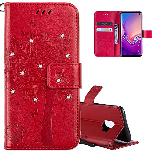 COTDINFOR LG Leon H340N C40 Hülle für Mädchen Elegant Retro Premium PU Lederhülle Handy Tasche mit Magnet Standfunktion Schutz Etui für LG Leon 4G LTE H340N C40 C50 Red Wishing Tree with Diamond KT.