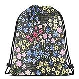 Hermoso cordón de impresión floral Bapa Sapa bolsa de cuerda Cinch impermeable...