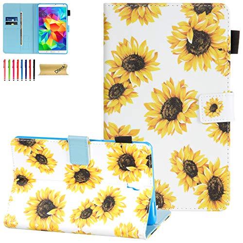 Dteck Schutzhülle für Samsung Galaxy Tab S 8.4 SM-T700 2014 Modell – Slim Fit Folio Stand Premium PU Leder Schutzhülle mit Kartenhalter Wallet Cover für SM-700/SM-T705, Sonnenblume