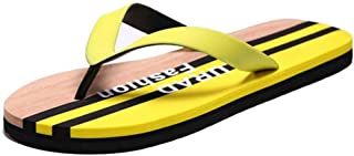 Gaodpz Men's Summer Slippers Skid Feet Sandals Colors Matching Leisure Travel Beach Shoes Flip Flops (Color : Yellow, Size : L)