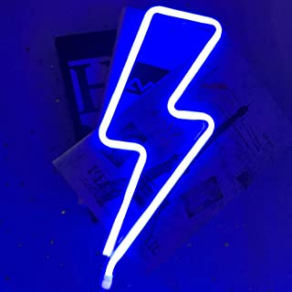 LED Neon Signs for Wall Decor BeMoment USB or Battery Operated Night Lights Art Decor Wall Decoration Table Lights Decorative for Indoors (Blue Lightning)