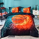 Andency 3D Basketball Comforter Twin(66x90 Inch), 2 Pieces(1 Basketball Comforter, 1 Pillowcase) Sport Microfiber Basketball Quilt Comforter Set Bedding Set for Boy Kids, Teen
