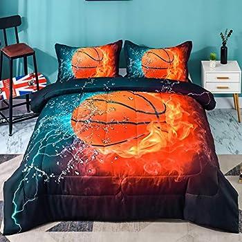 Andency Basketball Comforter Twin 66x90 Inch  2 Pieces 1 Basketball Comforter 1 Pillowcase  Sport Microfiber Basketball Comforter Set Bedding Set for Kids Boys Teens
