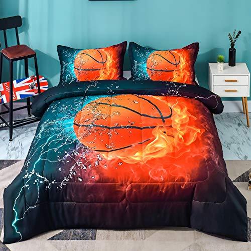 Andency 3D Basketball Comforter Queen(90x90 Inch), 3 Pieces(1 Basketball Comforter, 2 Pillowcases) Sport Microfiber Comforter Set Bedding Set for Boy Kids, Teen
