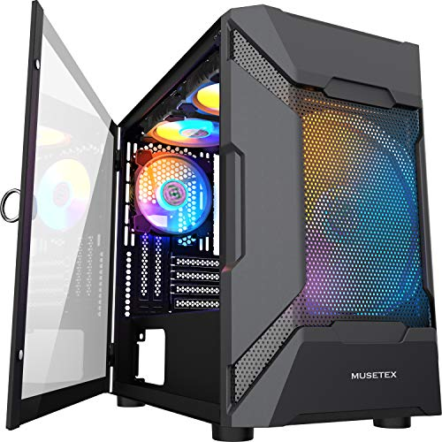 MUSETEX MESH Micro ATX Tower 4 PCS × LED ARGB Fans Pre-Installed 2 PCS × USB 3.0 Ports Opening Tempered Glass Panel & Mesh Front Panel Airflow Gaming PC Case (MK7-GN4)