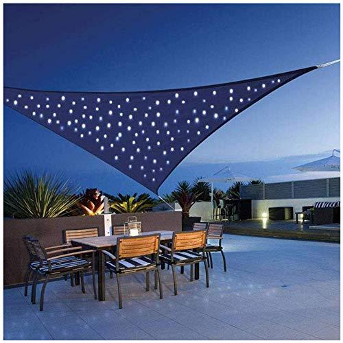 SFSGH Toldo Triángulo Impermeable con Luces LED, Terraza de protección Solar, Toldo de Vela Triángulo de Vela de Sol Balcón Toldos de Bloque de 95% UV Tela Oxford Repelente al Agua, Azul