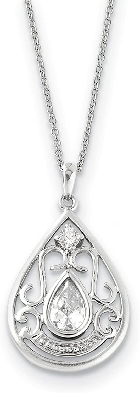 925 Sterling Silver CZ In Loving Memory 18in Necklace