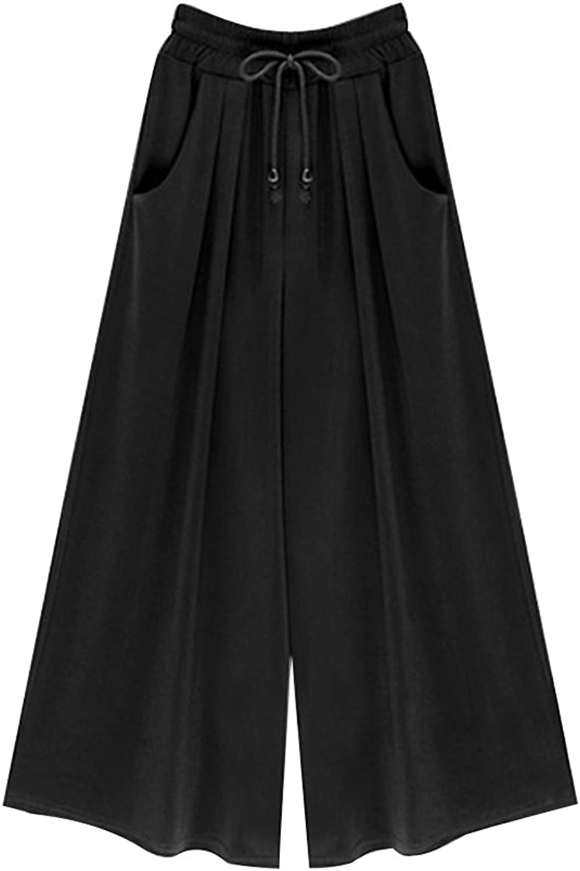 Gooket Women's Elastic Waist Wide Leg Casual Palazzo Capri Culottes Pants with Drawstring