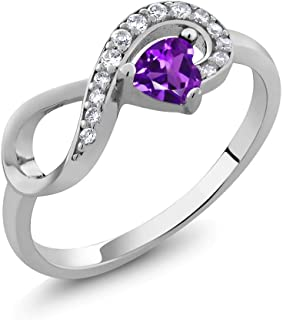 925 Sterling Silver Purple Amethyst Women's Infinity Ring 0.33 Ctw Heart Shape Gemstone Birthstone (Available 5,6,7,8,9)