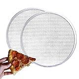 2 Pcs Pizza Screen,12 inches Aluminum Pizza Baking Screen, Seamless-Rim Aluminum Nonstick Pizza Screen