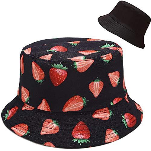 XYIYI Strawberry Black Bucket Hat Cute Fishing Sun Hats for Teen Girls Women, Reversible Double-Side