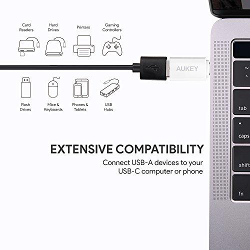 AUKEY USB C Adapter auf USB 3.0 A (3 Stücke) mit OTG für Type C Geräte inklusive dem MacBook Pro / Air 2019 / 2018, Google Chromebook Pixel, Samsung S10 / Note 10, Google Pixel 2/2XL usw. - Weiß