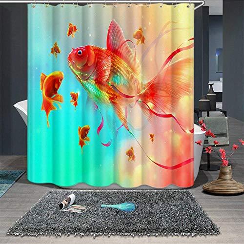 NOBRAND blauw en wit porselein goudvis patroon douchegordijnen badkamer gordijn dikker waterdicht verdikte bad gordijn
