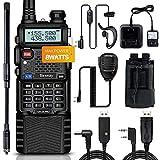 Ham Radio UV-5R Pro 8W Portable Two Way Radios with AT-501 Antenna Tactical Radio Holder 3800mah Battery and Handheld Speaker Mic Earpiece Full Kit