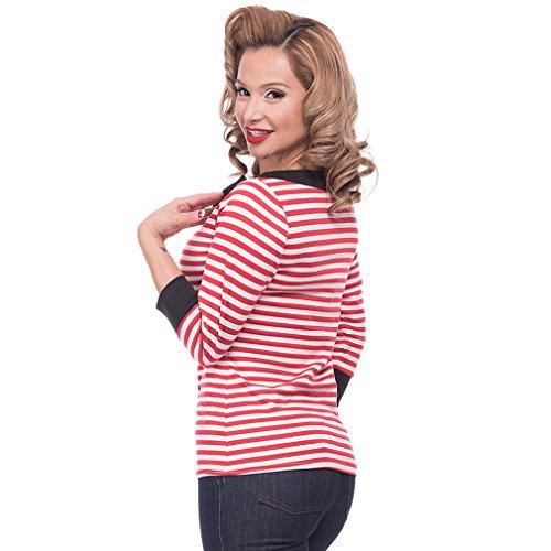 Steady Clothing Damen Retro Bluse mit Schleife – Striped Boatneck Rockabilly Oberteil 3/4 Arm Rot M - 3