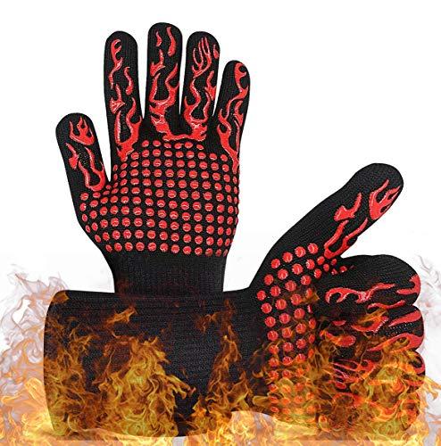FLYEER Grillhandschuhe, Hitzebeständig, bis 800 °C, Universal-Küchenhandschuhe, hitzebeständig und rutschfest, für Grill, Backofen, Küche und Kamin
