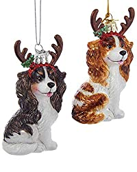 Kurt Adler Noble GemsガラスCavalier King Charles With Antlersオーナメント – 2 Assorted :ブラウン/ホワイトandタン/ホワイト[KURT ADLER/Amazon]
