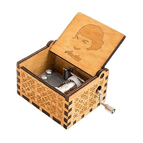 FnLy 18 Nota Grabado Madera Amelie Thame Caja de música, Antiguo Tallado a Mano manivela Caja de Regalo