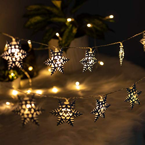 SVOPY Snowflake Led String Lights - 5ft/10 LEDs Metal Christmas Theme Decorative Fairy Lights for Christmas Holiday Indoor Bedroom Patio and Parties Battery Operated Christmas lights (Warm White)