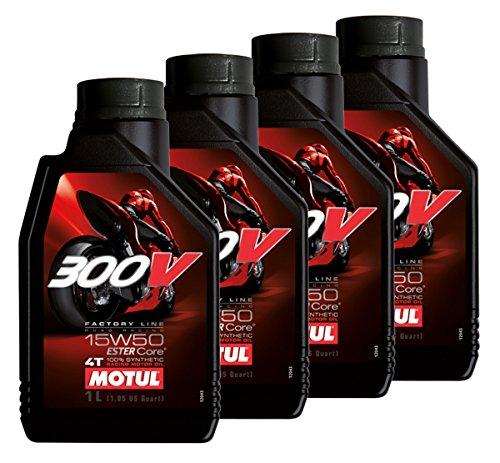 Aanbieding 4 liter motorolie Motul 300 V 15w50 4T Factory Line Racing 100% synthetisch