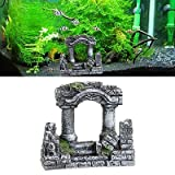 Artificial mundo de pecera antigua columna romana ruinas castillo europeo ornamento para decoraciones de acuario caja reptil paisaje