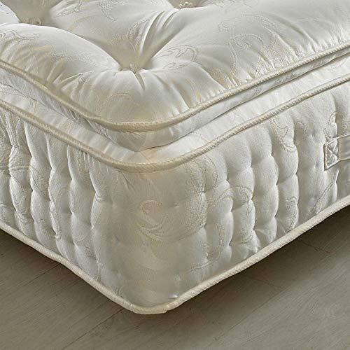 Pillow-Top 2000 Pocket Sprung, Happy Beds Signature Pillowtop Medium Firm Tension Mattress with Natural Fillings - 5ft UK King (150 x 200 cm)