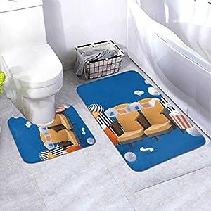 Badematten-Set Kinostuhl Erfrischungsgetränke Popcorn Unter 2-teiligem Bereich Teppich-Set Enthält Toilette Oval U-förmig konturierte Matte und Bad Teppiche, Bad Teppiche rutschfest waschbar waschba