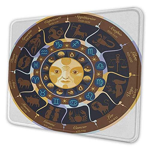 Astrologie Künstlerische Mauspad Widder Stier Zwillinge Krebs Leo Jungfrau Waage Skorpion Horoskop Zeichen Wasserbeständige Mauspad Braun Gelb und Blau