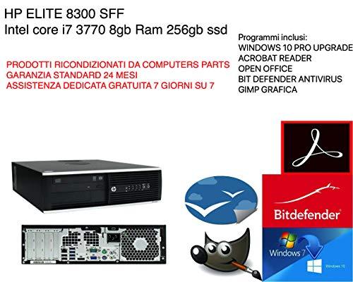 HP Elite 8300 sff Intel core i7 3770 @3,90ghz 8gb ram 256gb ssd wifi ++GARANZIA 24 MESI++ (RICONDIZIONATO Certificato)