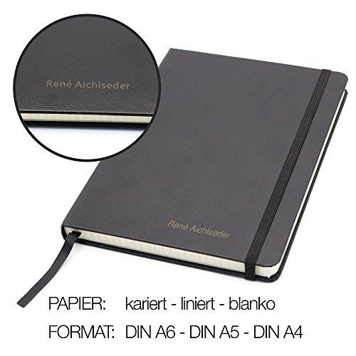 Notizbuch mit Namen - schwarz - DIN A5 - liniert