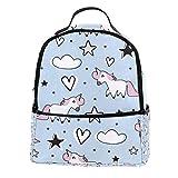 TIZORAX Mochila de unicornio con estrellas y corazones, para portátil, mochila de...
