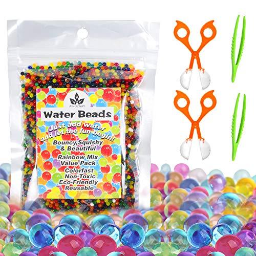 Wasserperlen Kits 10.000 Perlen Wachsende Bälle, Wasser perlen Feinmotorische Fähigkeiten Spielzeugset mit 2 Messlöffeln und Pinzette für Orbeez Spa Refill