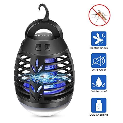 YUNLIGHTS Insektenvernichter Elektrisch, 2-In-1 Mückenlampe Campinglampe mit 2500mAh USB Wiederaufladbarer Batterie, IP66 Wasserdicht MückenkillerIndoor Outdoor mit einziehbarem Haken
