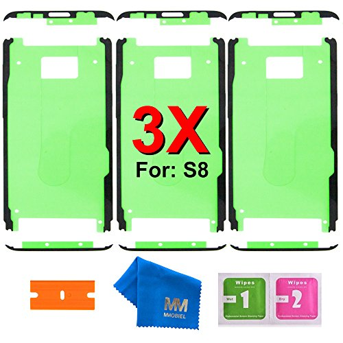 MMOBIEL 3 x Pre- Cut Adhesive Glue Tape Sticker Compatible with Samsung Galaxy S8 G950 Front Housing LCD Bezel Frame