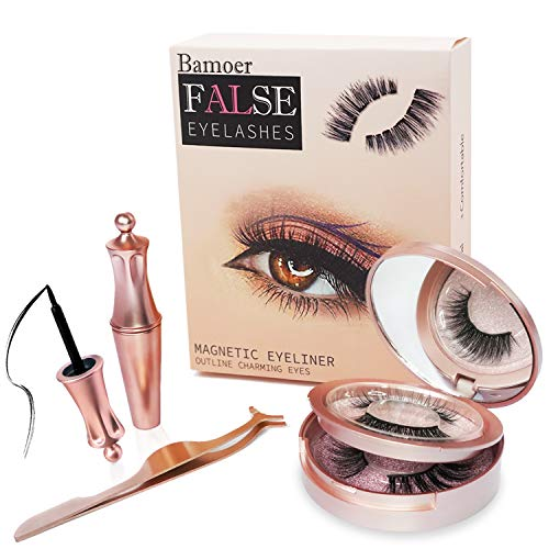 [2 Pairs]Bamoer Magnetische Wimpern, Magnetic Eyeliner Und Magnetic Eyelashes Set,4D Magnetische...