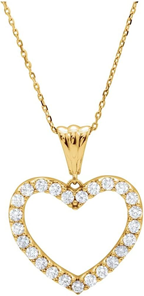 14K Yellow Gold Limited time cheap sale Diamond price Heart Necklace 18