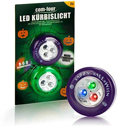 Preisvergleich Produktbild com-four® 2X LED-Licht für Halloween - Blinkende Kürbis LED Lichter für ausgehölte und Geschnitzte Kürbisse - Kürbis-Lampe für Halloween (lila / grün)
