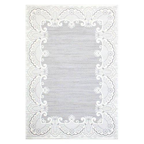 Tapijt acryl vlakpolig patroon meisje rand bloemen ornament klassiek grijs
