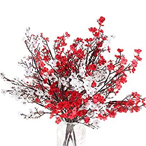 NAHUAA 4PCS Babys Breath Artificial Flowers Bushes Fake Silk Real Touch Floral Bouquet Home Office Farmhouse Wedding Centerpiece Arrangements Decor for Vase White / Red
