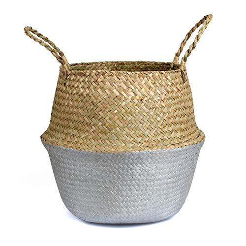 BlueMake Cesta de Mimbre Tejida a Mano para decoración de jardín, Cesta de Mimbre, Cesta para el hogar (Medium, Silver)