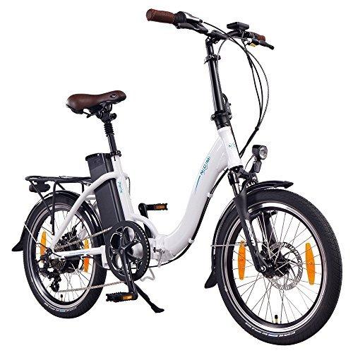 NCM Paris Vélo électrique Pliant 20'' Blanc, Batterie 36V 15Ah 540Wh, Autonomie maximale 100km, Moteur Das-Kit, Dérailleur Shimano, Selle Royale, Freins Tektro, Pneus Schwalbe, Fourche Zoom