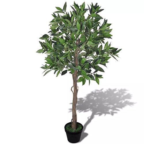 Tidyard Künstliche Lorbeerbaum 120 cm hoch und hat 546 grüne Blätter,Kunstpflanze Kunstbaum Mit Topf für die Innen- als auch die Außendekoration,Material Äste:Plastik und Drahlseil