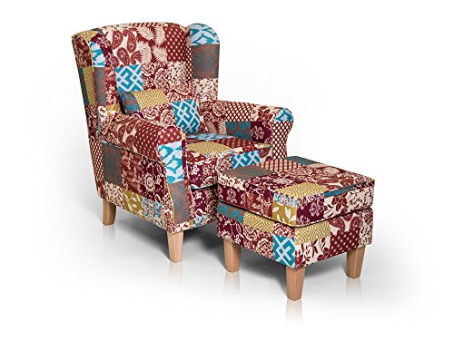 moebel-eins Willy Ohrensessel inkl. Hocker Wing-Chair Sessel Polstersessel Wohnzimmersessel Relaxsessel Sitzhocker Polsterhocker Fußhocker Fußablage/Patchwork, Patchwork bunt